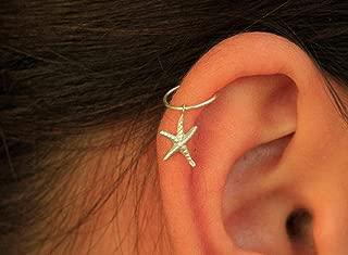 Silver Sea Star Hoop - Tiny Cartilage Hoop Earring in Silver
