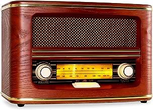 AUNA Belle Epoque 1905 - Radio nostálgica , Radio FM , Banda de Frecuencias , Regulador de Volumen y Frecuencias , Cable de Antena , Carcasa de Madera , Revestimiento para Altavoces , Dorado , Rojo