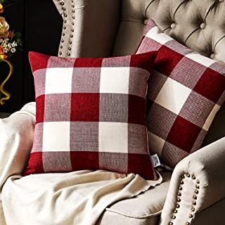 Western Home Decorative Throw Pillow Covers, Farmhouse Buffalo Check Plaid Pillowcase, Linen Cushion Cover Case for Couch Sofa Bed Red and White 18x18 Inch, Pack of 2