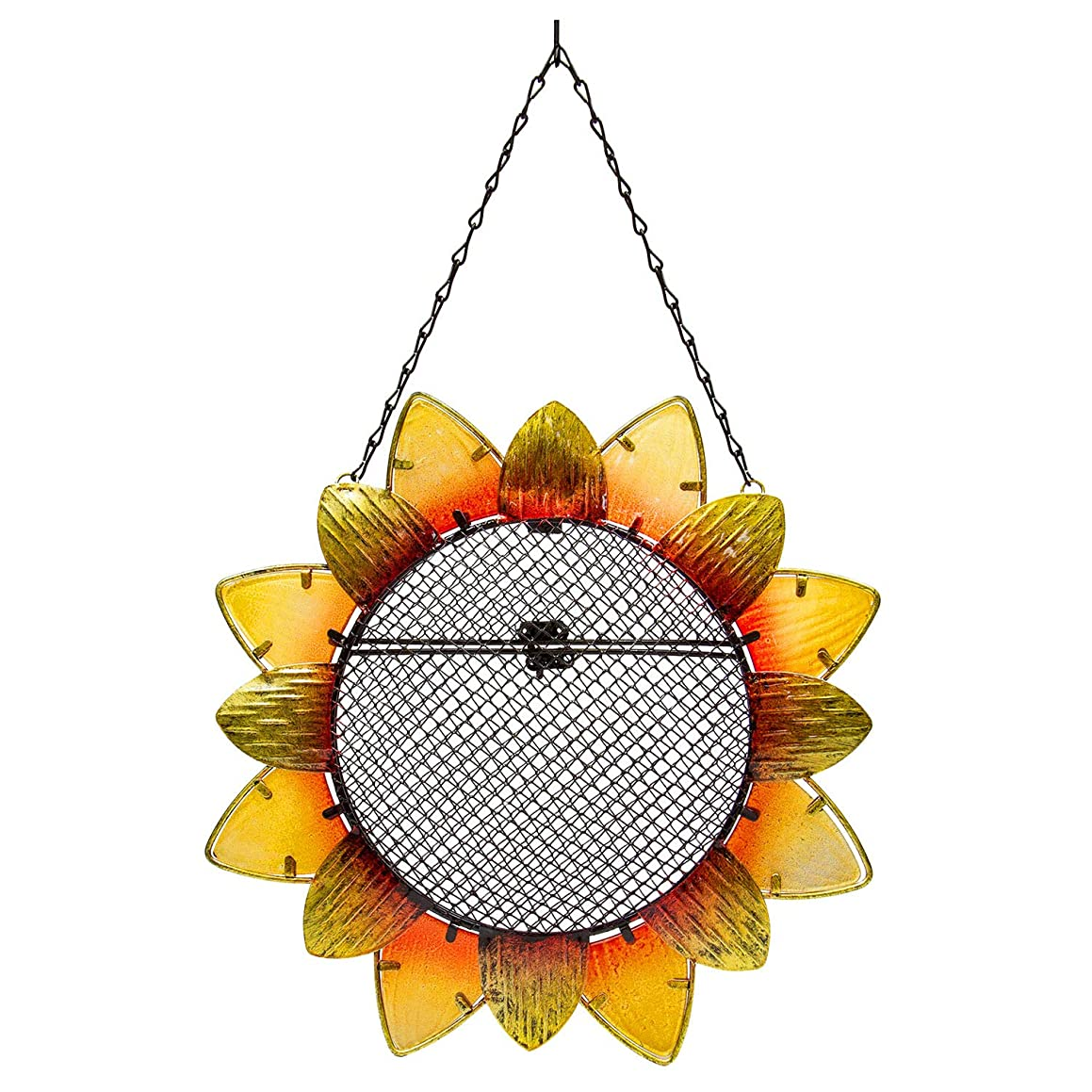 "Evergreen Garden Sunflower Metal and Glass Hanging Mesh Bird Feeder - 12.5""W x 3"