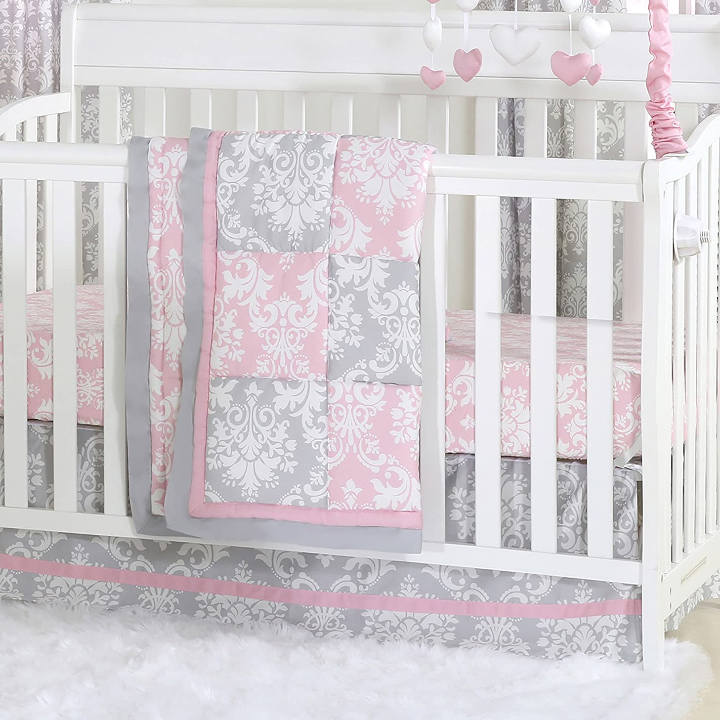 Pink and Grey Damask Patchwork 3 Piece Baby Crib Bedding Set by The Peanut Shell