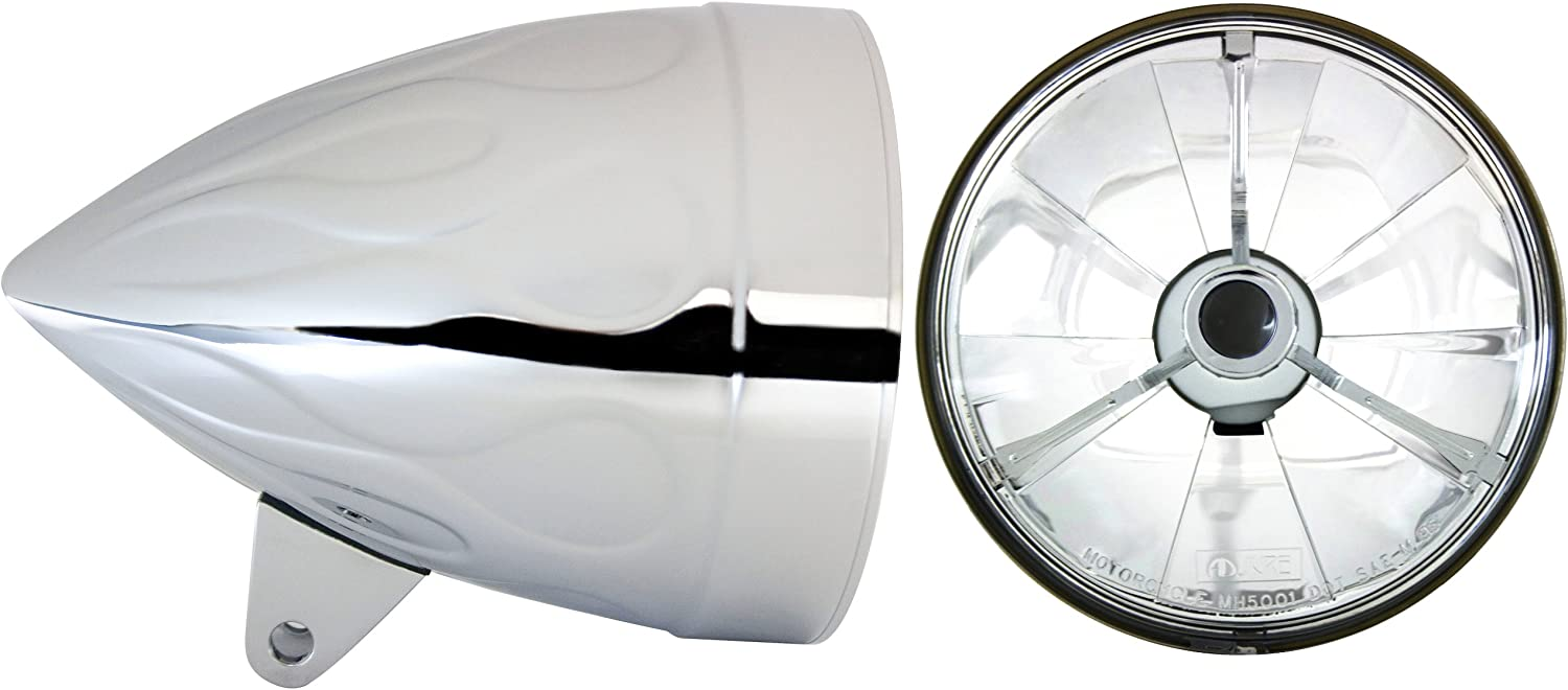 Part No: T50704 Adjure HB54110-74 5-3//4 Flamed Chrome Rodeo Drive Style Motorcycle Headlight Bucket Combo with Pie Cut Black Dot Tri-Bar Headlamp