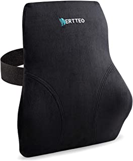 Full Lumbar Black Support by Vertteo - Premium Entire High Back Pillow for Office Desk Chair and Car Seat - Ergonomic Comf...