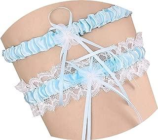 Mistari 1 Pair Lace Vintage Blue Ribbon Flower Prom Wedding Bridal Garter Belt Set with Bowknot (Blue)
