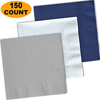 150 Lunch Napkins, Shimmering Silver, Bright White, Navy blue - 50 Each Color. 2 Ply Paper Dinner Napkins. 6.5