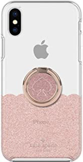Kate Spade New York Iphone Xs Max Gift Set: Ring Stand & Protective Hardshell Case - Scallop Rose Gold Glitter/Clear