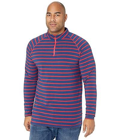 Kickee Pants Big Tall Long Sleeve Performance Jersey Sport Tee (1/4 Zip) (Everyday Heroes Navy Stripe) Men
