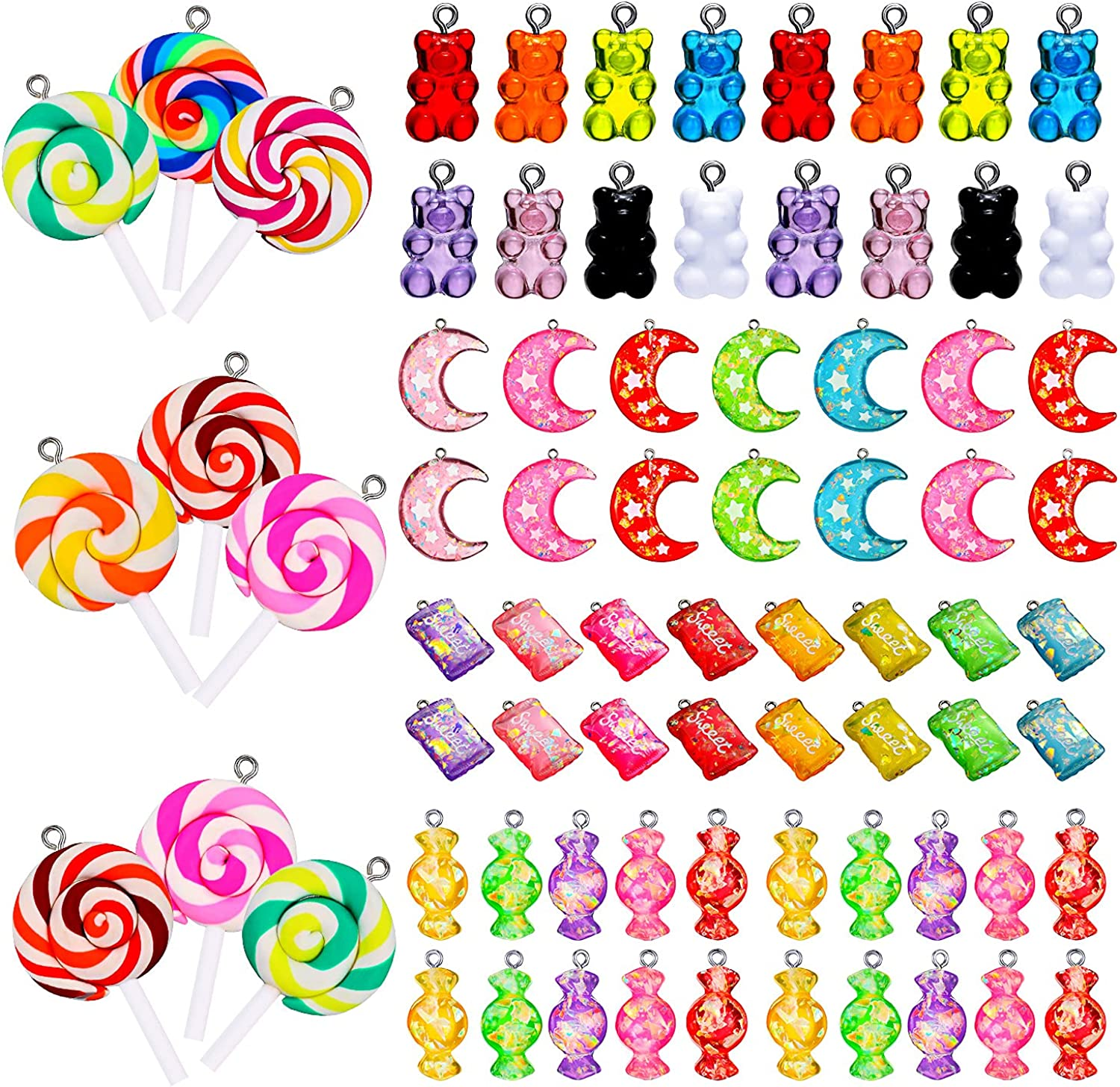 80 Pieces Colorful Candy Pendants Pendant Charms At Over item handling ☆ the price of surprise Jewelry