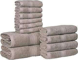 HILLFAIR 12 Piece- 600 GSM Cotton Bath Towels Set - Hotel Spa Towels Set- 2 Bath Towels, 4 Hand Towels, 6 Washcloths- Absorbent Soft Cotton Towels Set- Khaki Stone Towel Set- 100% Cotton Towel Set