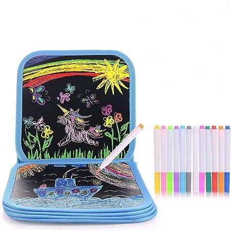 L/öschbar Malbuch mit 14 Farbstiften Tragbar Zeichenbrett Blaues Auto Upgrow Skizzenbuch Wiederbeschreibbar Kinder Graffiti-Buch Zeichenbuch Kinder Malerei Spielzeug