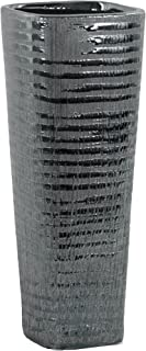 Urban Trends Ceramic Tall Square Ribbed Design Body and Tapered Bottom Distressed Finish Silver Vase,