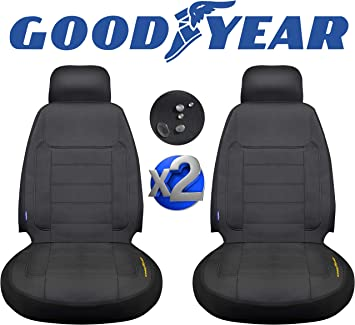 """Goodyear 2 Pack Water Resistant Car Seat Cover, 100% Pure Neoprene Fabric for Maximum Protection, Fits Most Cars, Headrest Cover 10""""H x 11""""W, Seat 46""""H x 18""""W, Side Airbag Compatible (GY1600): image"""
