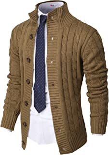 H2H Mens Casual Stand Collar Cable Knitted Button Down Cardigan Sweater
