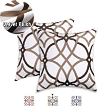 Velvet Plush 2 Pack Pillow Covers 18 x 18 Inch Brushed Microfiber Decorative Square Throw Pillow Covers Set Cushion Cases Pillowcases for Sofa Bedroom Car Luxury and Soft, Taupe and Brown Geo Pattern