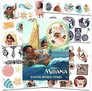 Disney Moana Tattoos - 50 Assorted Temporary Tattoos with Bonus Tribal Tattoos (Moana Party Supplies)