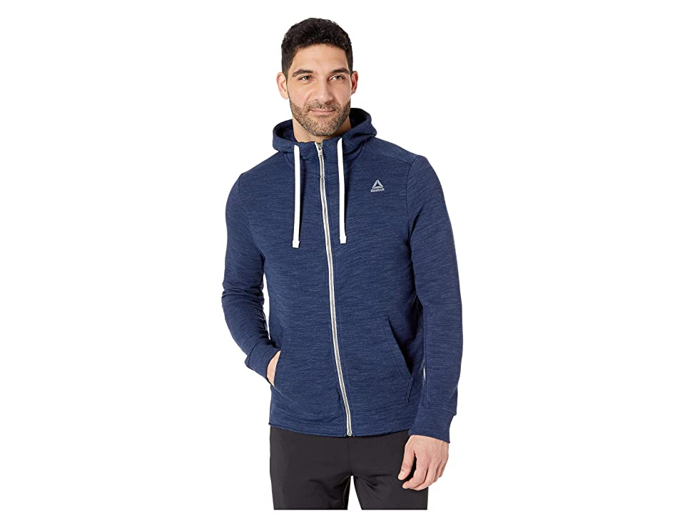 Reebok Training Essentials Marble Group Full Zip (Collegiate Navy) Men