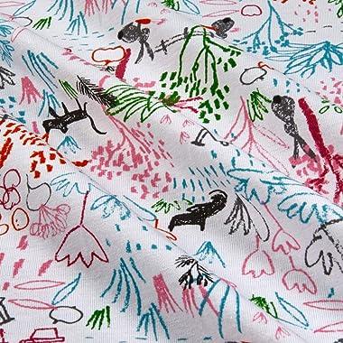 Telio Organic Stretch Cotton Jersey Sketch White Fabric, Green, Fabric By The Yard