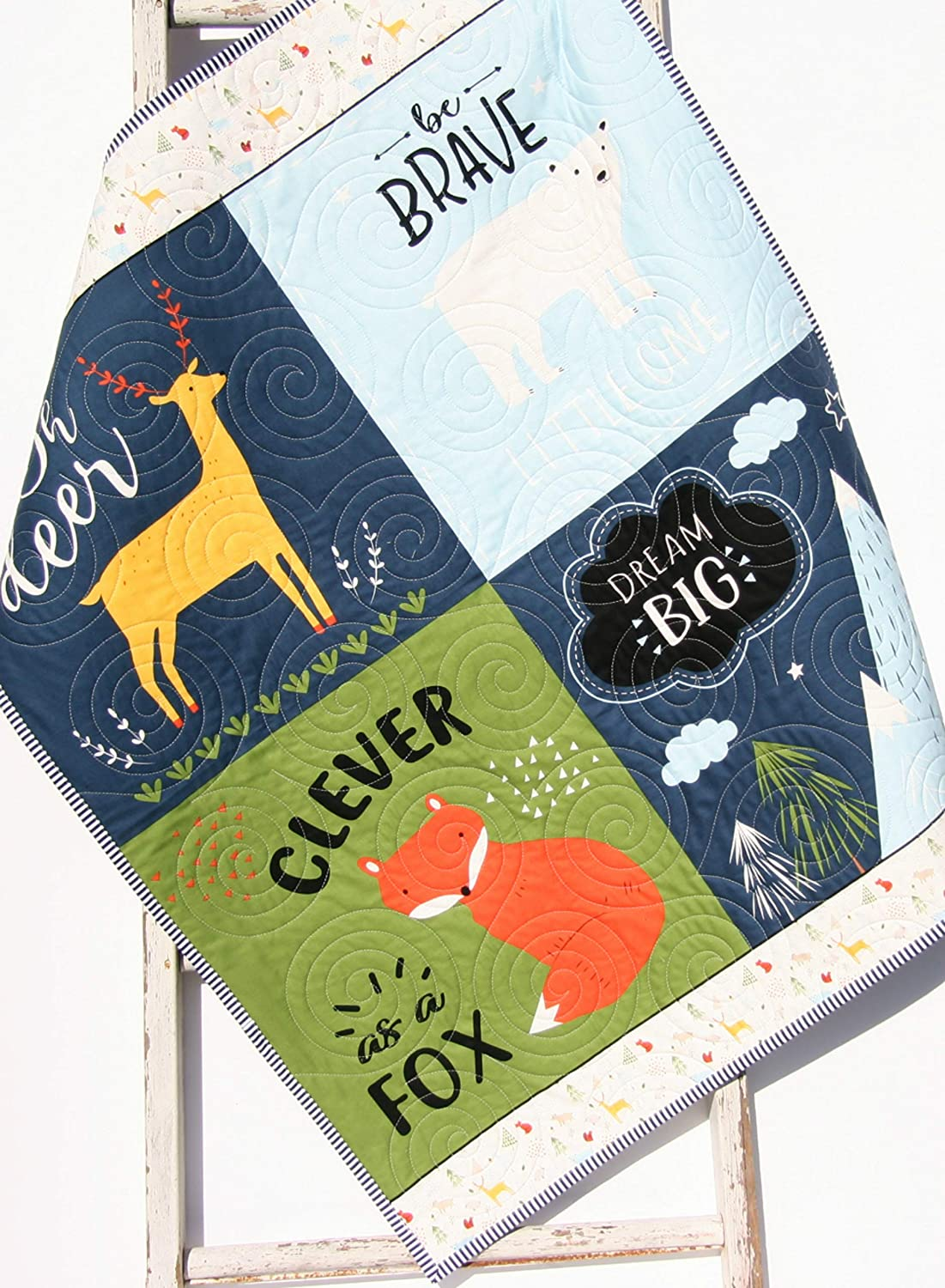 Year-end gift Quilts Baby Blanket Woodland Nursery Albuquerque Mall Quilt Decor Forest