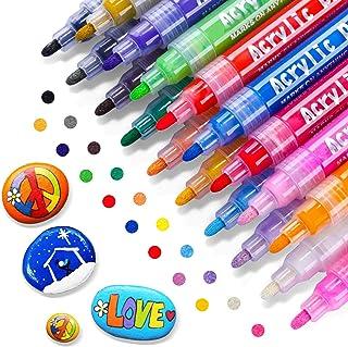 RATEL Feutre Acrylique Peinture Acryliques Stylos, 18 Couleurs Marqueur Peinture Acrylique Premium Permanent Stylo Peintur...