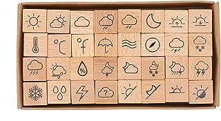 MissOrange『木製ゴム印セット』天気アイコンスタンプ クリエイティブスタンプセット クラフトカード スクラップブッキング 手帳用 32個セットM-5