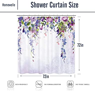Homewelle Purple Lavender Wisteria Shower Curtain 72Wx72L Inch Watercolor Weeping Floral Blossom Flower Vine Leaves Girl Woma