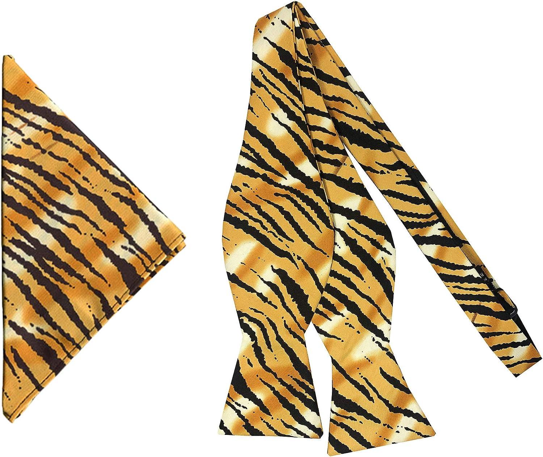 Jacob Alexander Men's Tiger Animal Print Self-Tie Bow Tie and Pocket Square Set