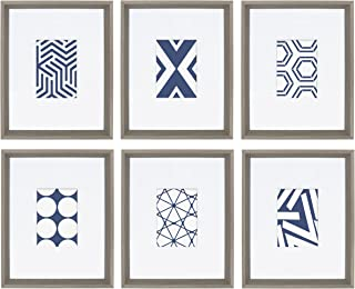 Kate and Laurel Calter 6 Framed Modern Blue and White Geometric Abstract Art Prints, Gray