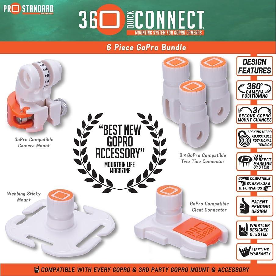 6 Piece 360 Quick Connect GoPro Bundle