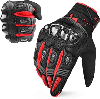 INBIKE Motorcycle Gloves Hard Knuckle Gloves Motorbike Gloves Men Carbon Fiber Red X-Large IM803