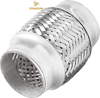 """TOTALFLOW TF-57100 Stainless Steel Double Braided Exhaust Flex Pipe-2.25"""" ID x 4"""" OAL-Without Extensions"""