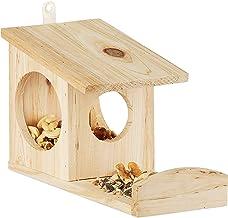 Relaxdays Eekhoorntje voederhuis om op te hangen, van hout, weerbestendig, hxbxd: ca. 17,5 x 12 x 25 cm, naturel