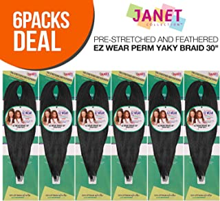 MULTI PACK DEALS! Janet Collection Synthetic Hair Braids Pre-Stretched and Feathered EZ Wear Perm Yaky Braid 30