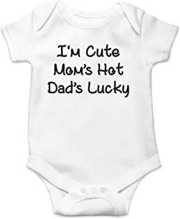 AW Fashions I'm Cute, Mom's Hot, Dad's Lucky Cute Novelty Funny Infant One-Piece Baby Bodysuit