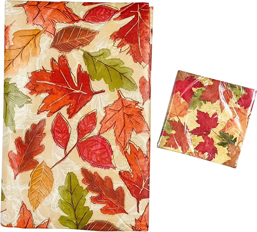 Elrene Fall Autumn Flannel Back Vinyl Tablecloth Traditional Rustic Colorful Leaves Print Red Green Yellow Orange On Beige With Matching Napkins 52 X 90 Inch Glorious Fall
