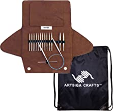 addi Knitting Needles Click Short Rocket Lace Interchangeable Circular System White-Bronze Finish Skacel Exclusive Blue Cords Bundle with 1 Artsiga Crafts Project Bag