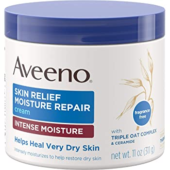 Aveeno Skin Relief Intense Moisture Repair Cream with Triple Oat Complex, Ceramide & Rich Emollients, Steroid- & Fragrance-Free Moisturizing Body Cream for Extra-Dry Skin, 11 oz