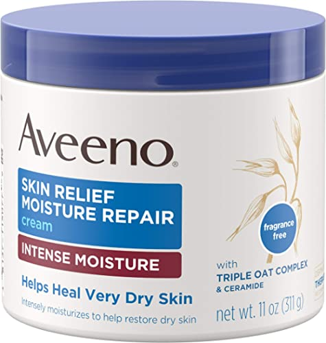 Aveeno Skin Relief Intense Moisture Repair Cream with Triple Oat Complex, Ceramide & Rich Emollients, Steroid- & Frag...