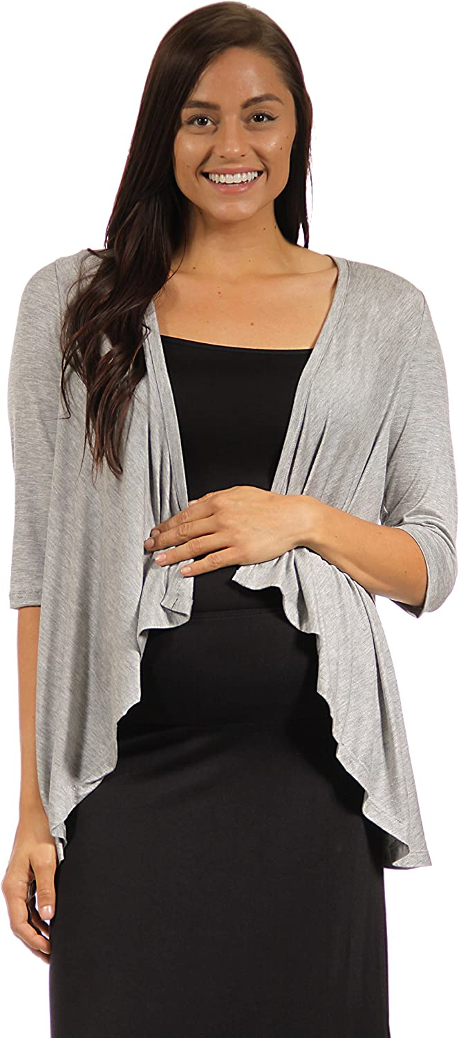 24seven Comfort Apparel Women's Maternity 3/4 Sleeve Draped Open Short High Low Cardigan - Made in USA - (Sizes S-3XL)