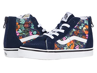 Vans Kids Sk8-Hi Zip (Infant/Toddler) ((Multi Tropic) Dress Blues/True White) Girls Shoes