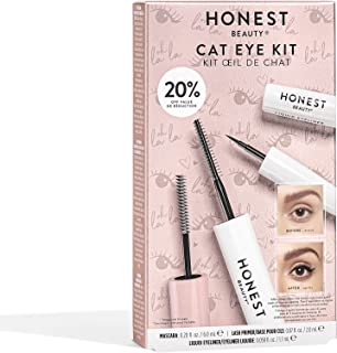 Honest Beauty Holiday Cat Eye Kit | Limited Edition | Perfect for Gifting | Full Size Extreme Length Mascara + Lash Primer & Full Size Liquid Eyeliner | Cruelty Free & Ophthalmologist Tested