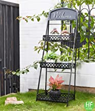 3 Tier Oil Brush Farmhouse Metal Plant Stand With Decorative Chalkboard Outdoor Indoor..