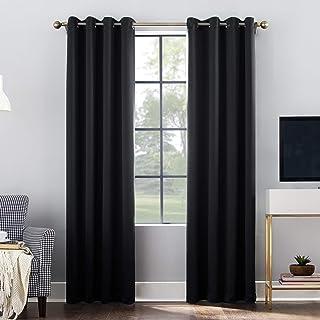 "Sun Zero Oslo-Gr Theater Grade Extreme 100% Blackout Grommet Curtain Panel, 52""x95"", Black"