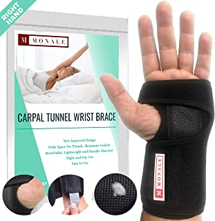 MONALE Carpal Tunnel Wrist Brace for Night Support/Wrist Splint Night and Day/Wrist Support Brace for Tendonitis and Arthritis/Removable Splint and Adjustable Support Straps (Black, Right Hand)