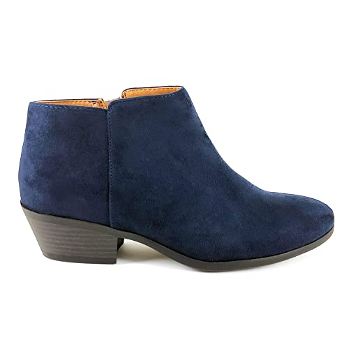 840c6a4391d SODA Women s Western Ankle Bootie w Low Chunky Block Stacked Heel