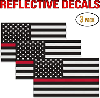 """Thin Red Line Decal – Perfect 5""""x3"""" UV Outdoor Laminated Flag Reflective Decal Stickers for Cars, Trucks, and SUVs - in Support of Support of Firefighters and EMTs (3 Pack)"""
