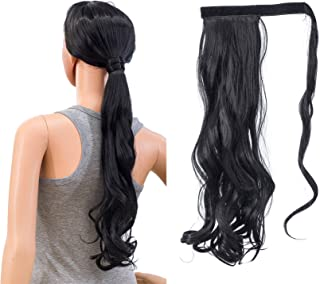 SWACC Women Long Straight/Curly Wavy Wrap Around Ponytail Extension Synthetic Hair Piece Clip in Hair extensions (Curly Wavy, 1B#-Off Black)