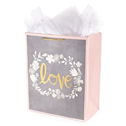 """Hallmark 13"""" Large Gift Bag with Tissue Paper (Love, Gold, Blush and Gray) for Weddings, Engagements"""