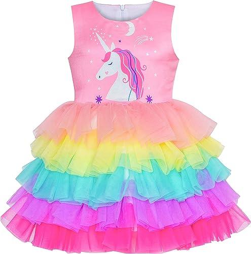 Sunny Fashion Robe Fille Anniversaire Princesse Ébouriffer Habiller Gâteau Ballon Imprimer 3-10 Ans