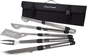 BBQ Grill Tools 5 Piece Stainless Steel Set, Barbecue Grilling Utensils Kit in Heavy Duty Nylon Travel and Storage Roll Bag by Classic Cuisine