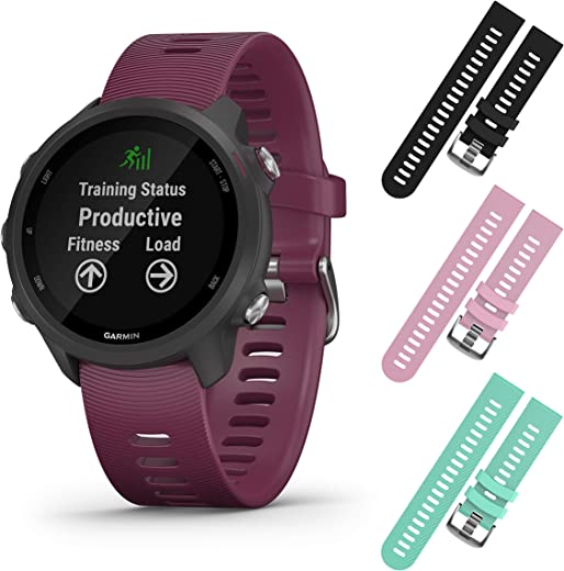 Garmin Forerunner 245 GPS Running Smartwatch with Included Wearable4U 3 Straps Bundle (Berry 010-02120-01, Black/Pink/Teal)